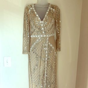 Missguided Long Beaded Formal Taupe Silver Gown 8